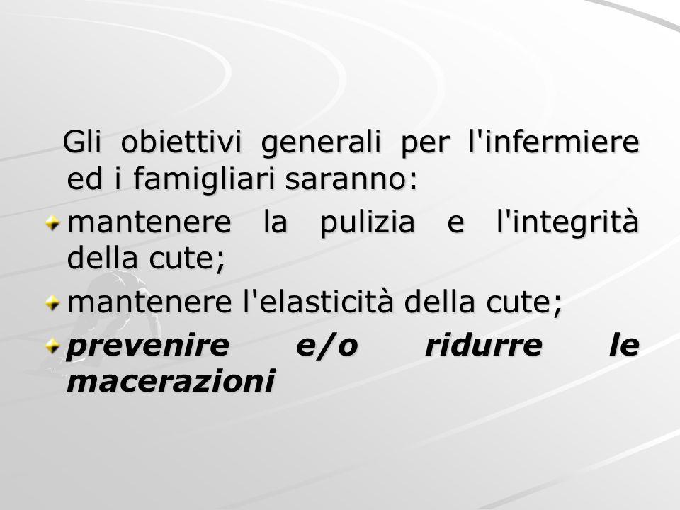 Gli obiettivi generali per l'infermiere ed i famigliari saranno: Gli obiettivi generali per l'infermiere ed i famigliari saranno: mantenere la pulizia