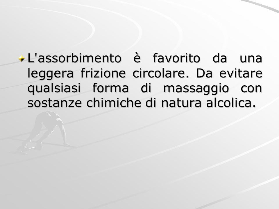 L'assorbimento è favorito da una leggera frizione circolare. Da evitare qualsiasi forma di massaggio con sostanze chimiche di natura alcolica.