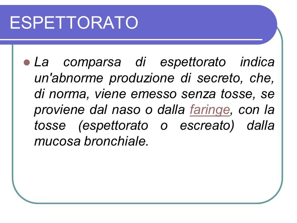 ESPETTORATO La comparsa di espettorato indica un'abnorme produzione di secreto, che, di norma, viene emesso senza tosse, se proviene dal naso o dalla
