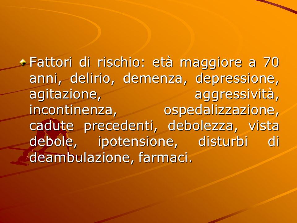 Fattori di rischio: età maggiore a 70 anni, delirio, demenza, depressione, agitazione, aggressività, incontinenza, ospedalizzazione, cadute precedenti