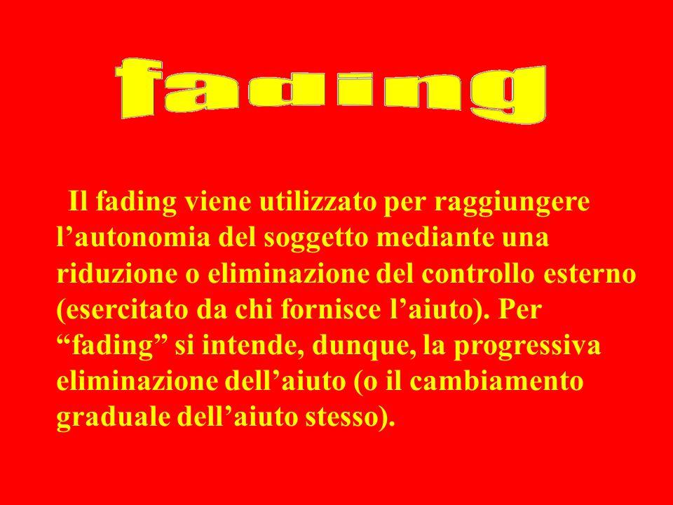 Il fading viene utilizzato per raggiungere l'autonomia del soggetto mediante una riduzione o eliminazione del controllo esterno (esercitato da chi fornisce l'aiuto).