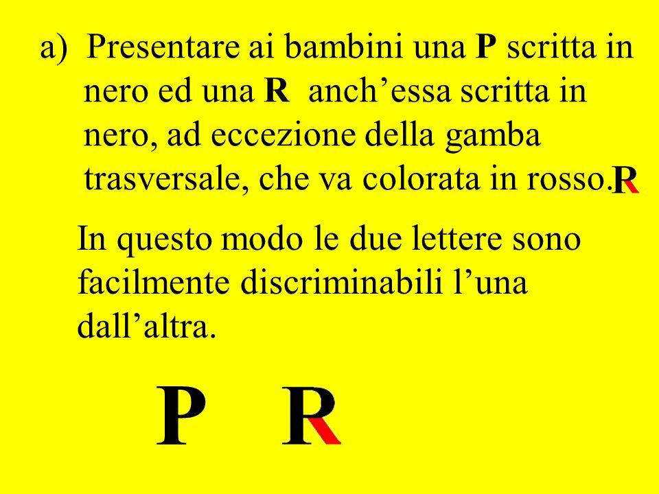 a) Presentare ai bambini una P scritta in nero ed una R anch'essa scritta in nero, ad eccezione della gamba trasversale, che va colorata in rosso.