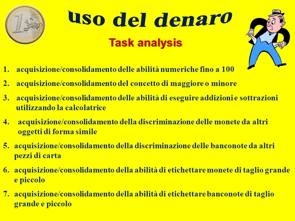 Task analysisTask analysis 1. acquisizione/consolidamento delle abilità numeriche fino a 100 2. acquisizione/consolidamento del concetto di maggiore o