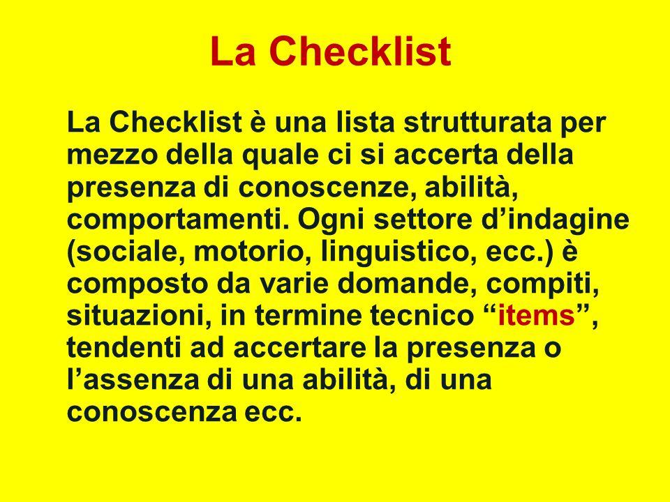 La Checklist La Checklist è una lista strutturata per mezzo della quale ci si accerta della presenza di conoscenze, abilità, comportamenti. Ogni setto