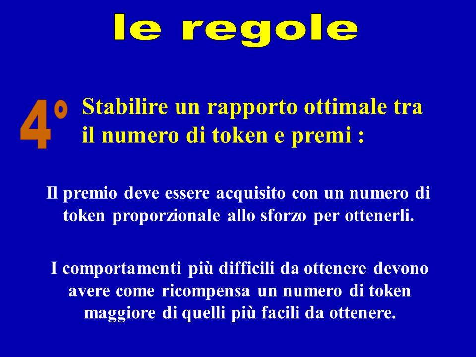 Stabilire un rapporto ottimale tra il numero di token e premi : Il premio deve essere acquisito con un numero di token proporzionale allo sforzo per o