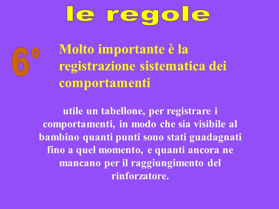Molto importante è la registrazione sistematica dei comportamenti utile un tabellone, per registrare i comportamenti, in modo che sia visibile al bamb
