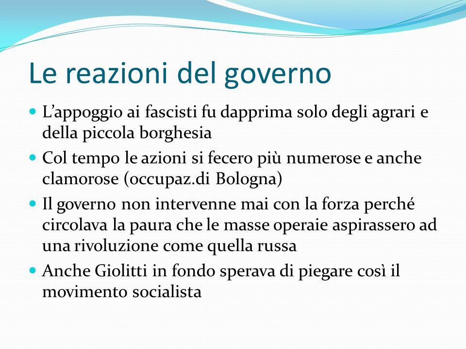 """Il movimento fascista Autunno 1920: nascono le squadre d'azione fasciste (le """"squadracce"""") Operano nelle campagne del Nord Italia Sono finanziate dai"""