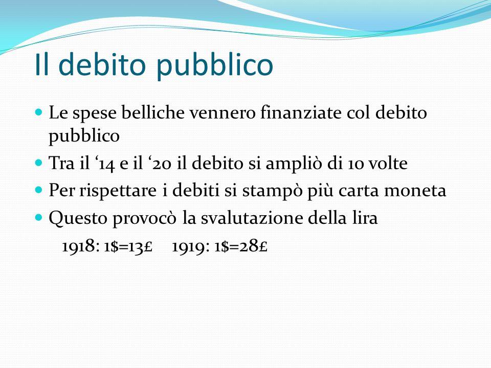 Motivi economici La situazione economica italiana nel '18 è molto critica Troppe spese per la guerra Aumento debito pubblico Necessità di stampare mon