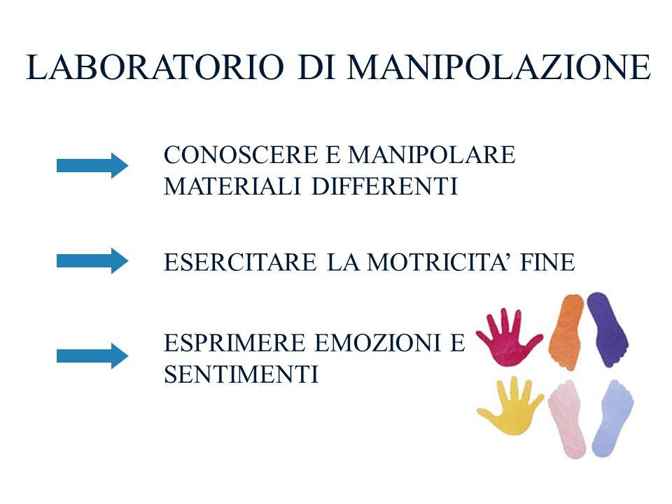 LABORATORIO DI MANIPOLAZIONE CONOSCERE E MANIPOLARE MATERIALI DIFFERENTI ESERCITARE LA MOTRICITA' FINE ESPRIMERE EMOZIONI E SENTIMENTI