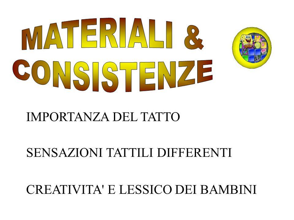 IMPORTANZA DEL TATTO SENSAZIONI TATTILI DIFFERENTI CREATIVITA' E LESSICO DEI BAMBINI