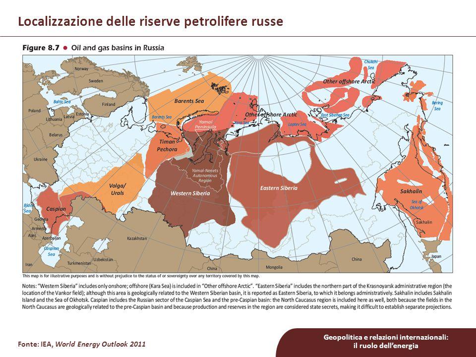 Geopolitica e relazioni internazionali: il ruolo dell'energia Localizzazione delle riserve petrolifere russe Fonte: IEA, World Energy Outlook 2011