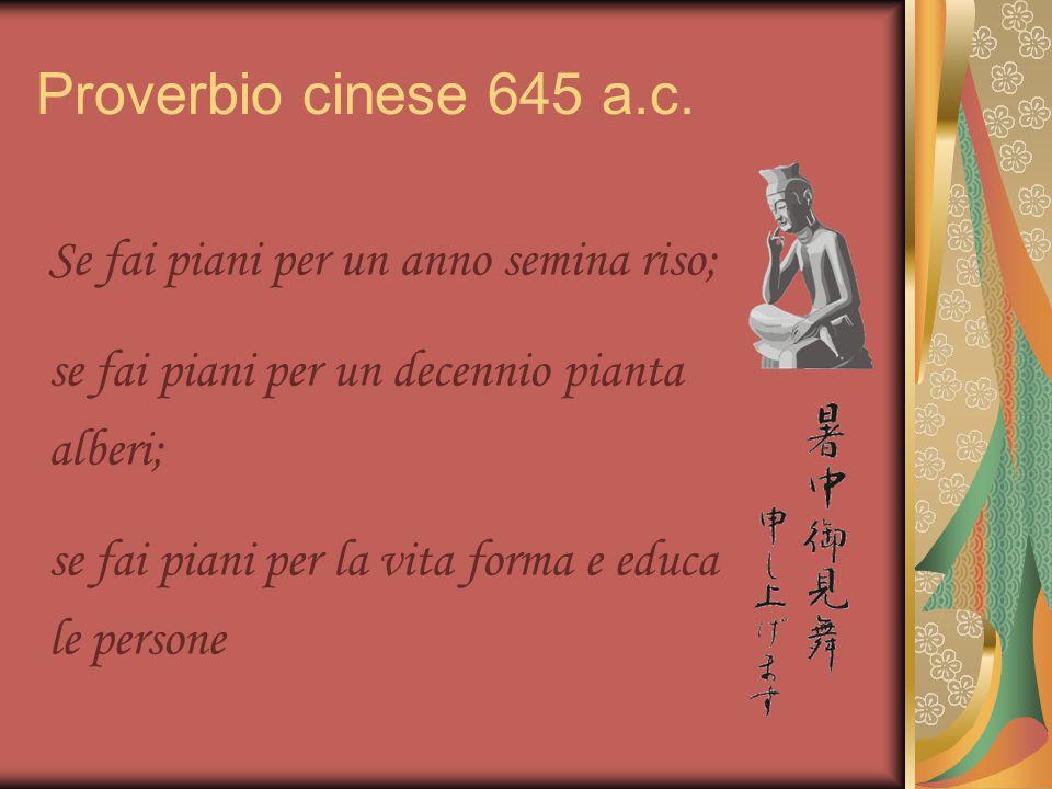 Proverbio cinese 645 a.c. Se fai piani per un anno semina riso; se fai piani per un decennio pianta alberi; se fai piani per la vita forma e educa le