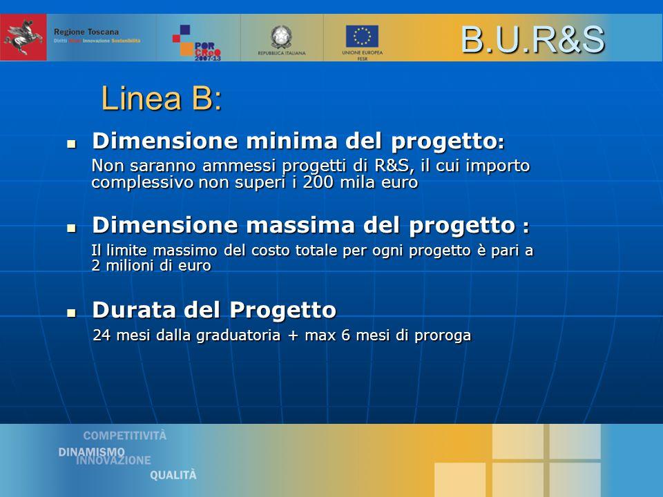 11 Dimensione minima del progetto : Dimensione minima del progetto : Non saranno ammessi progetti di R&S, il cui importo complessivo non superi i 200 mila euro Dimensione massima del progetto : Dimensione massima del progetto : Il limite massimo del costo totale per ogni progetto è pari a 2 milioni di euro Durata del Progetto Durata del Progetto 24 mesi dalla graduatoria + max 6 mesi di proroga 24 mesi dalla graduatoria + max 6 mesi di prorogaB.U.R&S Linea B: