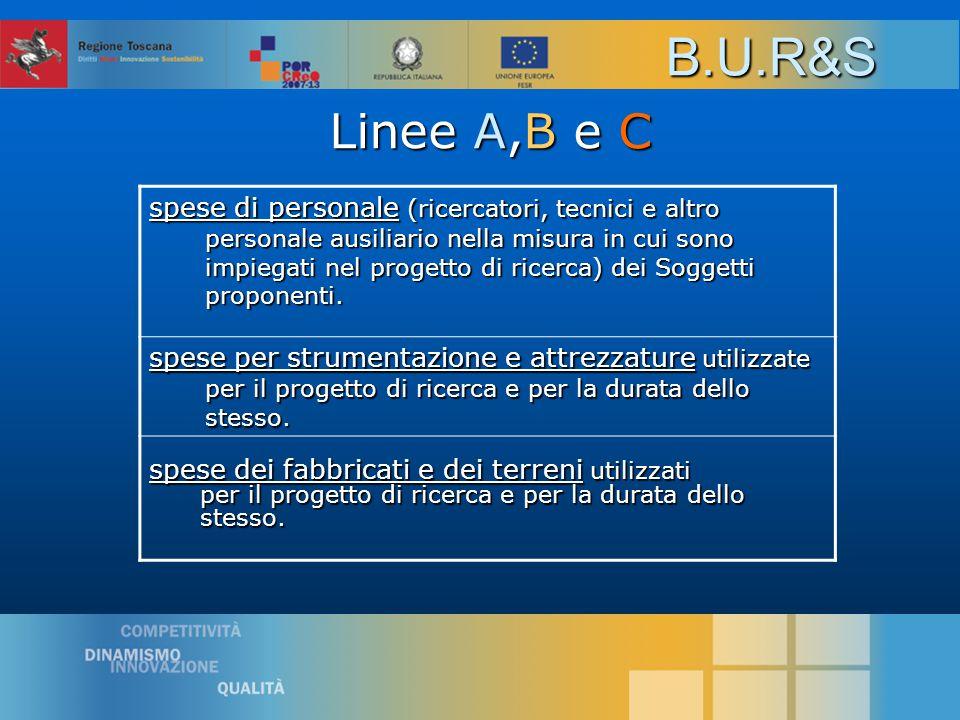 Linee A,B e C Linee A,B e C spese di personale (ricercatori, tecnici e altro personale ausiliario nella misura in cui sono impiegati nel progetto di ricerca) dei Soggetti proponenti.