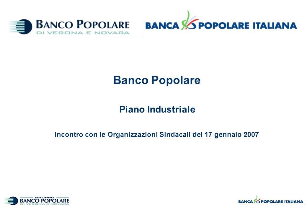 Banco Popolare Piano Industriale Incontro con le Organizzazioni Sindacali del 17 gennaio 2007