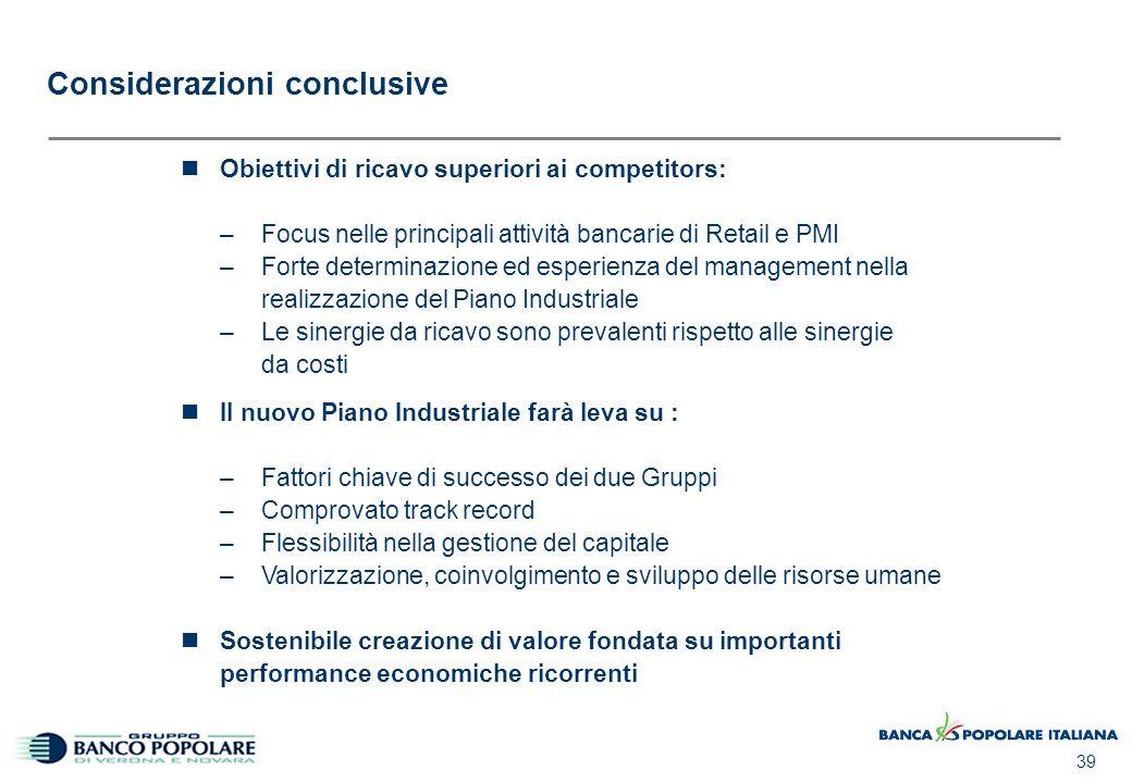 39 Considerazioni conclusive Obiettivi di ricavo superiori ai competitors: –Focus nelle principali attività bancarie di Retail e PMI –Forte determinaz
