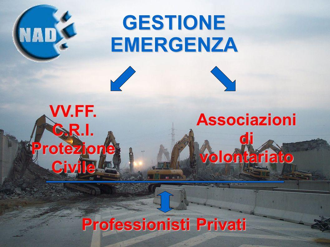 VV.FF.C.R.I. Protezione Civile Associazioni di volontariato Professionisti Privati GESTIONE EMERGENZA