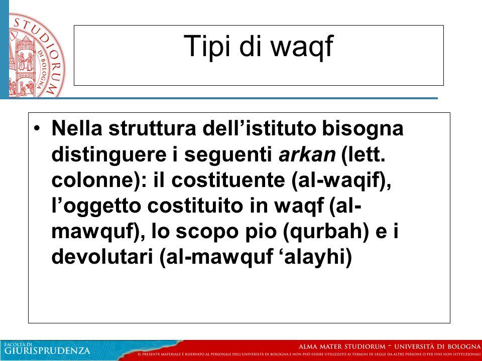 Tipi di waqf Nella struttura dell'istituto bisogna distinguere i seguenti arkan (lett.