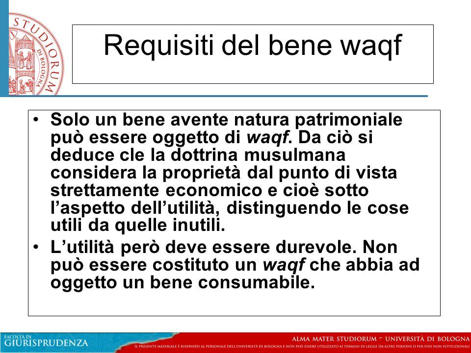 Requisiti del bene waqf Solo un bene avente natura patrimoniale può essere oggetto di waqf.