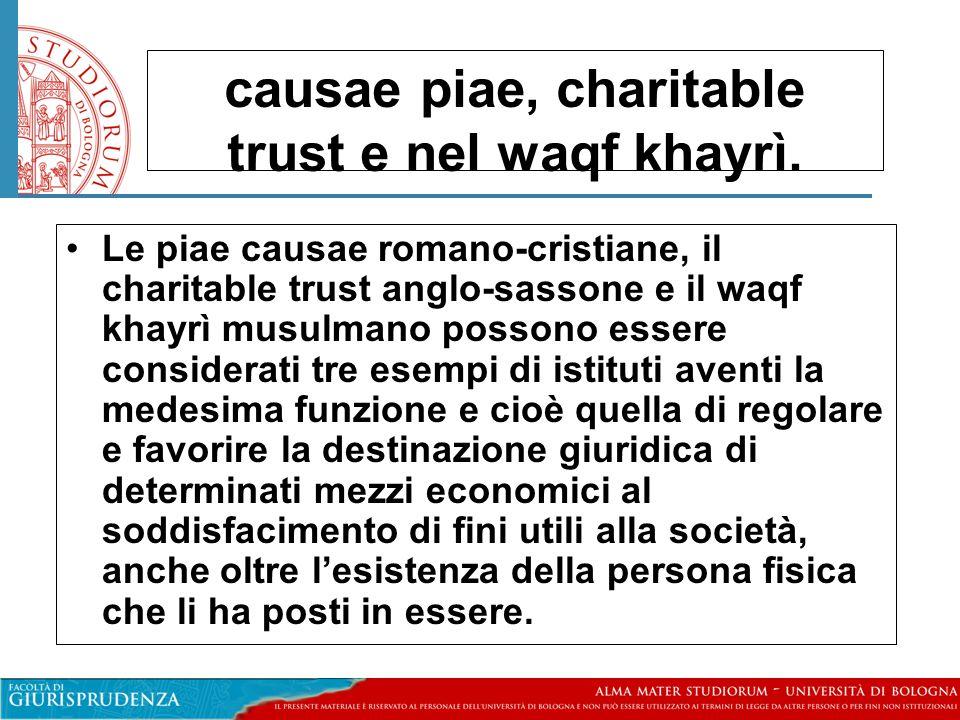 causae piae, charitable trust e nel waqf khayrì.