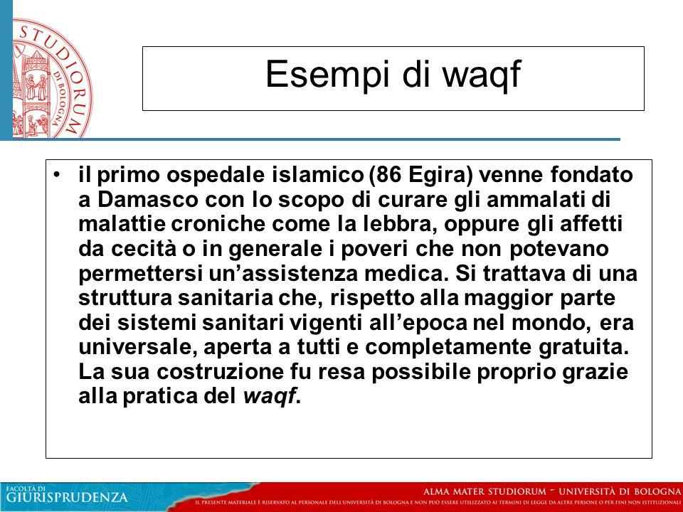Elementi costitutivi de waqf Il costituente deve essere un uomo libero Deve essere di relgione mussulmana.