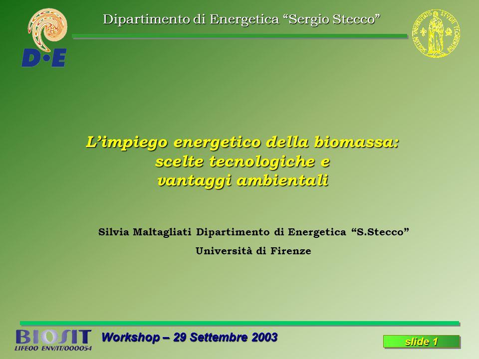 Dipartimento di Energetica Sergio Stecco Workshop – 29 Settembre 2003 slide 1 L'impiego energetico della biomassa: scelte tecnologiche e vantaggi ambientali Silvia Maltagliati Dipartimento di Energetica S.Stecco Università di Firenze