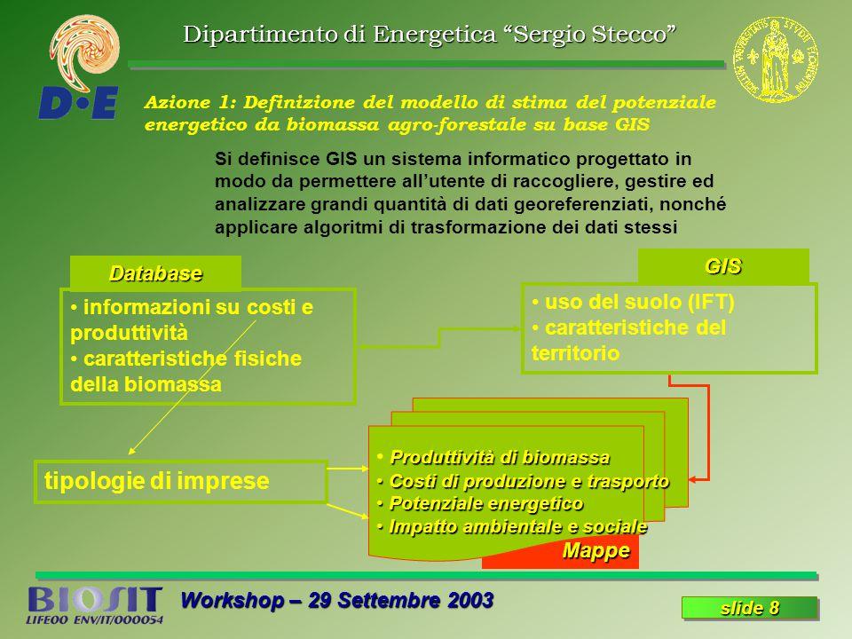 Dipartimento di Energetica Sergio Stecco Workshop – 29 Settembre 2003 slide 8 Azione 1: Definizione del modello di stima del potenziale energetico da biomassa agro-forestale su base GIS Si definisce GIS un sistema informatico progettato in modo da permettere all'utente di raccogliere, gestire ed analizzare grandi quantità di dati georeferenziati, nonché applicare algoritmi di trasformazione dei dati stessi Mappe uso del suolo (IFT) caratteristiche del territorio informazioni su costi e produttività caratteristiche fisiche della biomassa Database GIS Produttività di biomassa Costi di produzione e trasporto Costi di produzione e trasporto Potenziale energetico Potenziale energetico Impatto ambientale e sociale Impatto ambientale e sociale tipologie di imprese