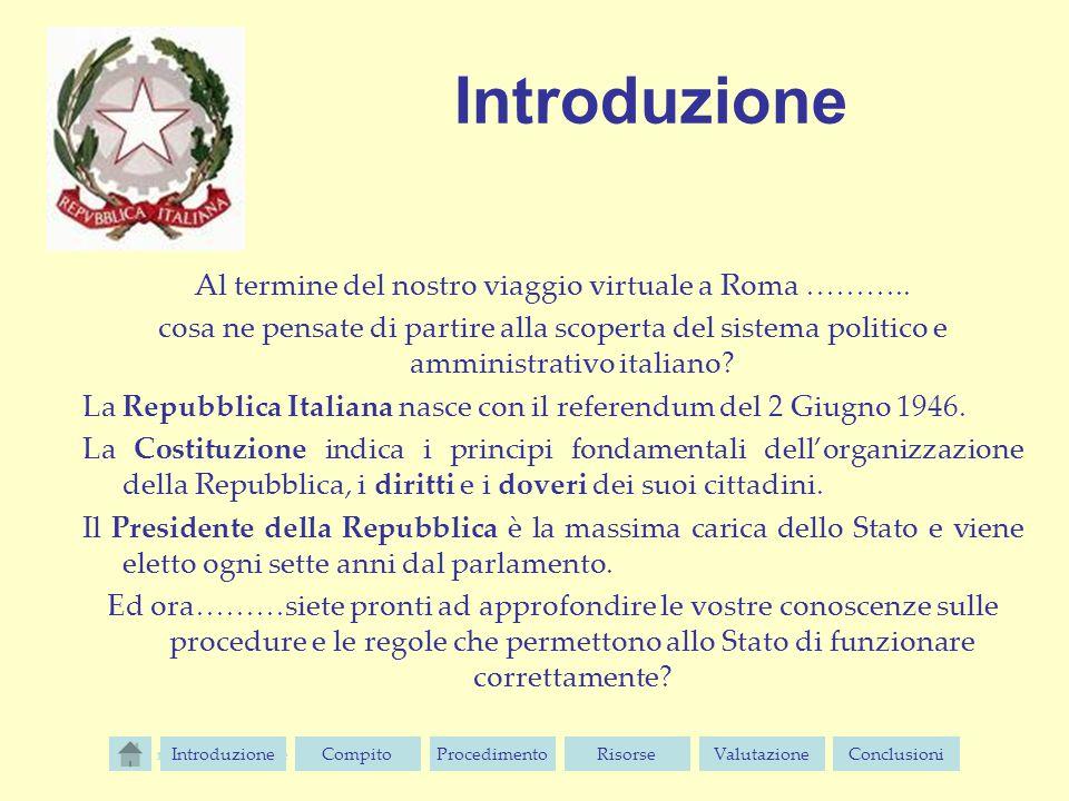 Introduzione Al termine del nostro viaggio virtuale a Roma ……….. cosa ne pensate di partire alla scoperta del sistema politico e amministrativo italia