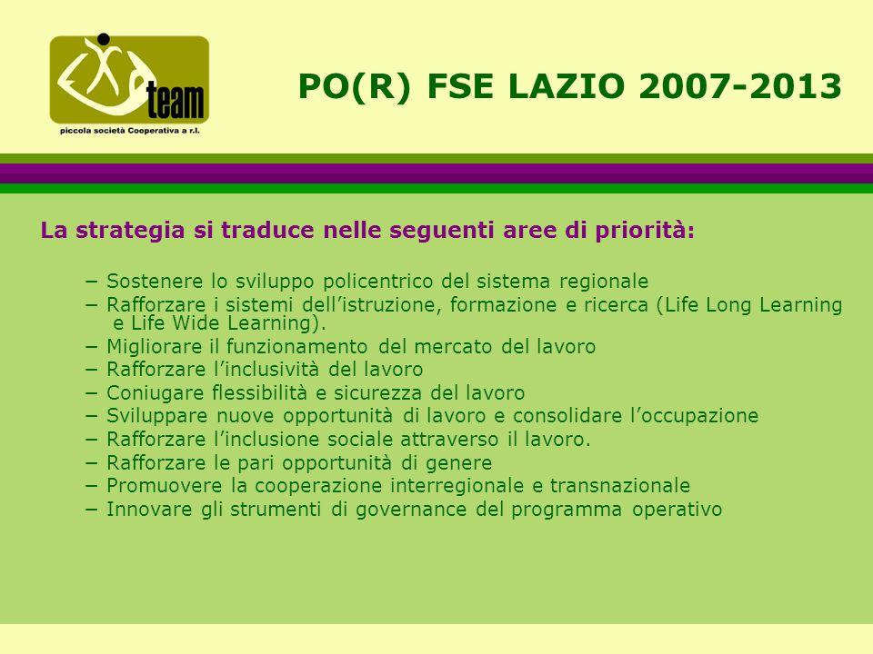 PO(R) FSE LAZIO 2007-2013 La strategia si traduce nelle seguenti aree di priorità: − Sostenere lo sviluppo policentrico del sistema regionale − Rafforzare i sistemi dell'istruzione, formazione e ricerca (Life Long Learning e Life Wide Learning).
