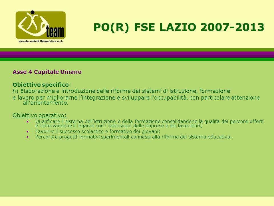 PO(R) FSE LAZIO 2007-2013 Asse 4 Capitale Umano Obiettivo specifico: h) Elaborazione e introduzione delle riforme dei sistemi di istruzione, formazione e lavoro per migliorarne l'integrazione e sviluppare l'occupabilità, con particolare attenzione all'orientamento.