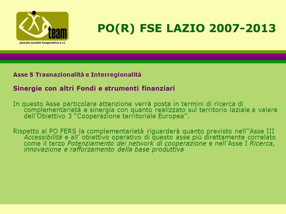 PO(R) FSE LAZIO 2007-2013 Asse 5 Trasnazionalità e Interregionalità Sinergie con altri Fondi e strumenti finanziari In questo Asse particolare attenzione verrà posta in termini di ricerca di complementarietà e sinergia con quanto realizzato sul territorio laziale a valere dell'Obiettivo 3 Cooperazione territoriale Europea .