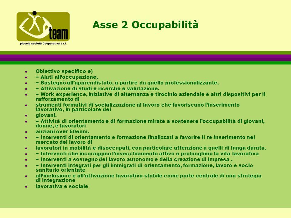 Asse 2 Occupabilità l Obiettivo specifico e) l − Aiuti all'occupazione.