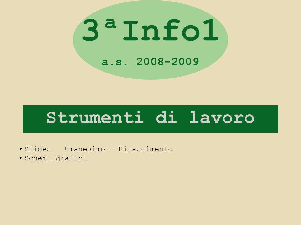 Strumenti di lavoro 3ªInfo1 a.s. 2008-2009 Slides Umanesimo – Rinascimento Schemi grafici