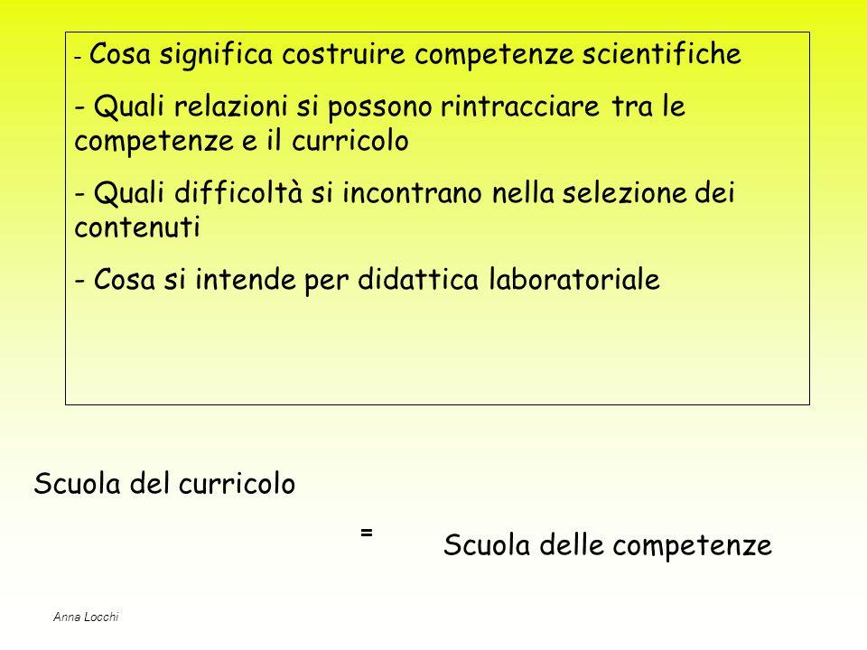 Scuola del curricolo Scuola delle competenze = - Cosa significa costruire competenze scientifiche - Quali relazioni si possono rintracciare tra le competenze e il curricolo - Quali difficoltà si incontrano nella selezione dei contenuti - Cosa si intende per didattica laboratoriale Anna Locchi