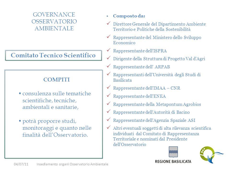 GOVERNANCE OSSERVATORIO AMBIENTALE Composto da: Direttore Generale del Dipartimento Ambiente Territorio e Politiche della Sostenibilità Rappresentante