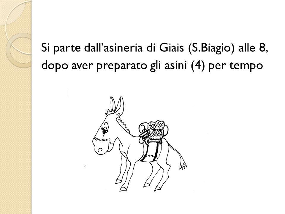 Si parte dall'asineria di Giais (S.Biagio) alle 8, dopo aver preparato gli asini (4) per tempo