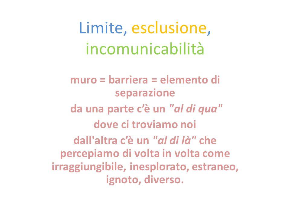 Limite, esclusione, incomunicabilità muro = barriera = elemento di separazione da una parte c'è un al di qua dove ci troviamo noi dall altra c'è un al di là che percepiamo di volta in volta come irraggiungibile, inesplorato, estraneo, ignoto, diverso.