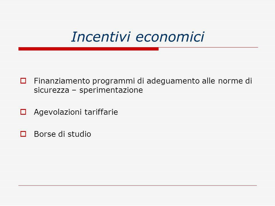 Incentivi economici  Finanziamento programmi di adeguamento alle norme di sicurezza – sperimentazione  Agevolazioni tariffarie  Borse di studio