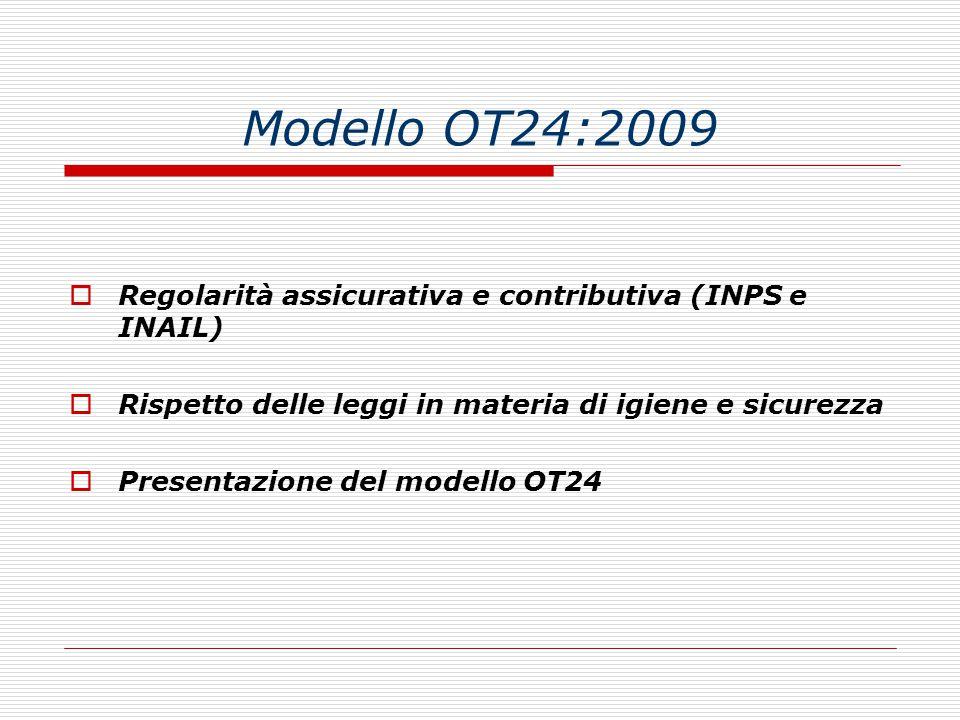 Modello OT24:2009  Regolarità assicurativa e contributiva (INPS e INAIL)  Rispetto delle leggi in materia di igiene e sicurezza  Presentazione del modello OT24
