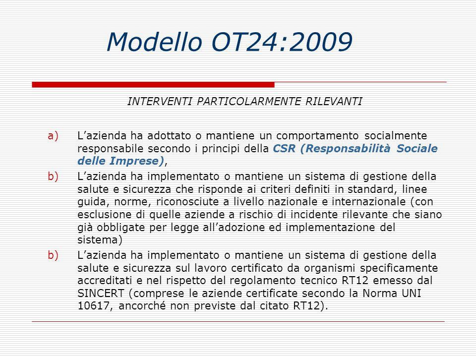 Modello OT24:2009 INTERVENTI PARTICOLARMENTE RILEVANTI a)L'azienda ha adottato o mantiene un comportamento socialmente responsabile secondo i principi