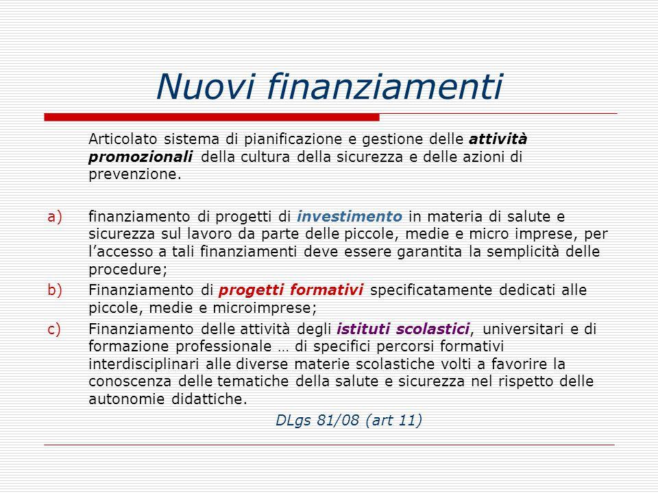 Nuovi finanziamenti Articolato sistema di pianificazione e gestione delle attività promozionali della cultura della sicurezza e delle azioni di prevenzione.