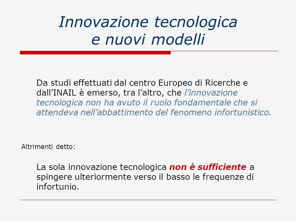 Innovazione tecnologica e nuovi modelli Da studi effettuati dal centro Europeo di Ricerche e dall'INAIL è emerso, tra l'altro, che l'innovazione tecnologica non ha avuto il ruolo fondamentale che si attendeva nell'abbattimento del fenomeno infortunistico.