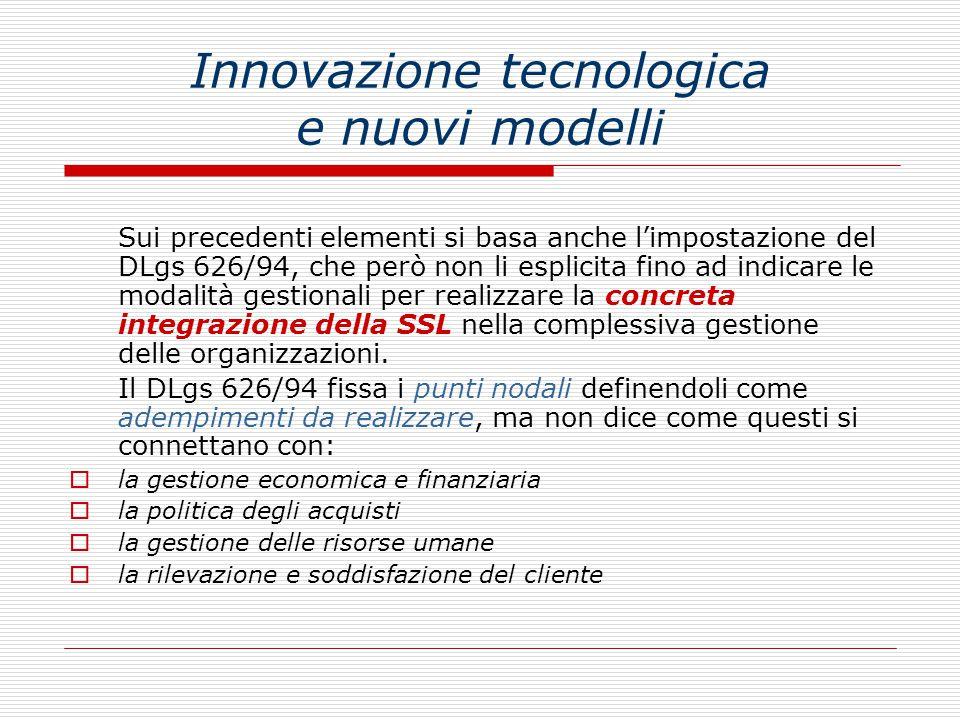 Innovazione tecnologica e nuovi modelli Sui precedenti elementi si basa anche l'impostazione del DLgs 626/94, che però non li esplicita fino ad indica