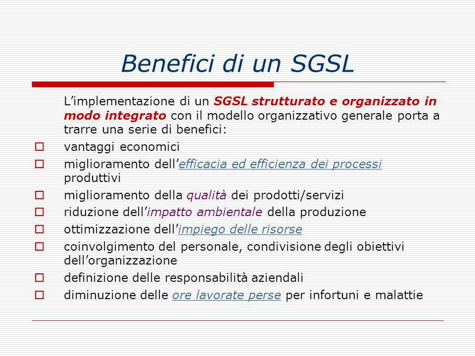 Benefici di un SGSL L'implementazione di un SGSL strutturato e organizzato in modo integrato con il modello organizzativo generale porta a trarre una