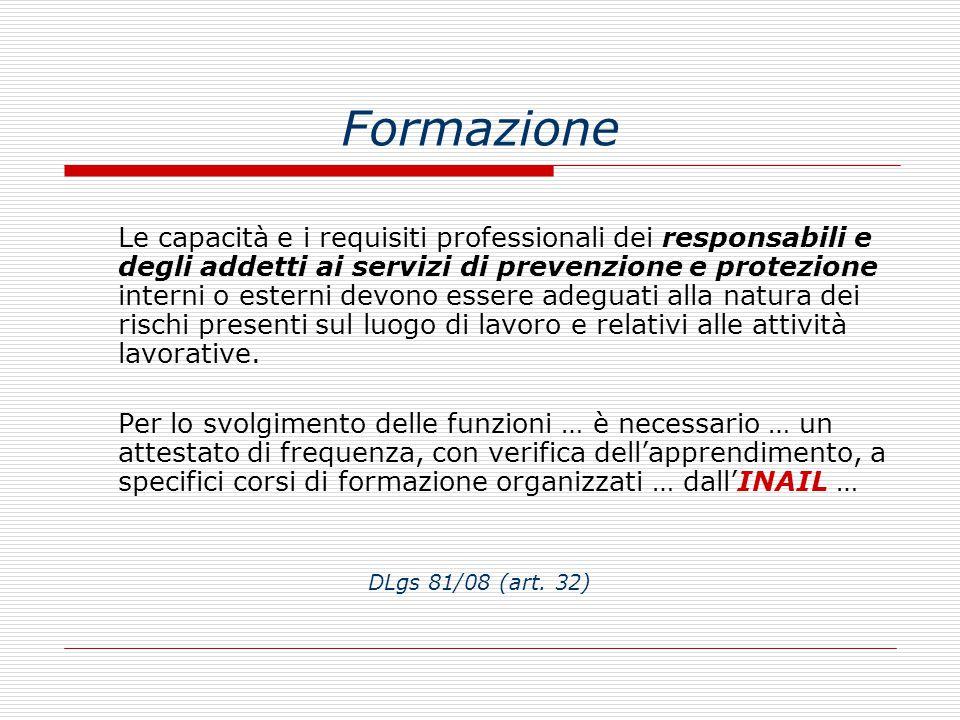 Formazione Le capacità e i requisiti professionali dei responsabili e degli addetti ai servizi di prevenzione e protezione interni o esterni devono es