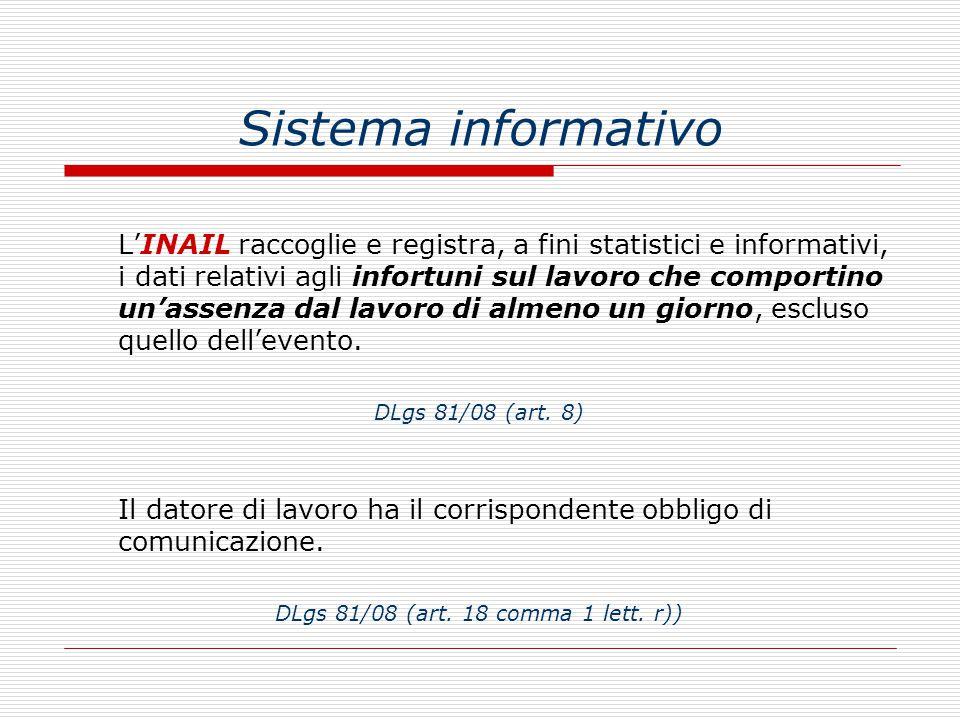 Sistema informativo L'INAIL raccoglie e registra, a fini statistici e informativi, i dati relativi agli infortuni sul lavoro che comportino un'assenza dal lavoro di almeno un giorno, escluso quello dell'evento.