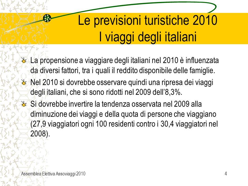 Assemblea Elettiva Assoviaggi 20104 Le previsioni turistiche 2010 I viaggi degli italiani La propensione a viaggiare degli italiani nel 2010 è influenzata da diversi fattori, tra i quali il reddito disponibile delle famiglie.