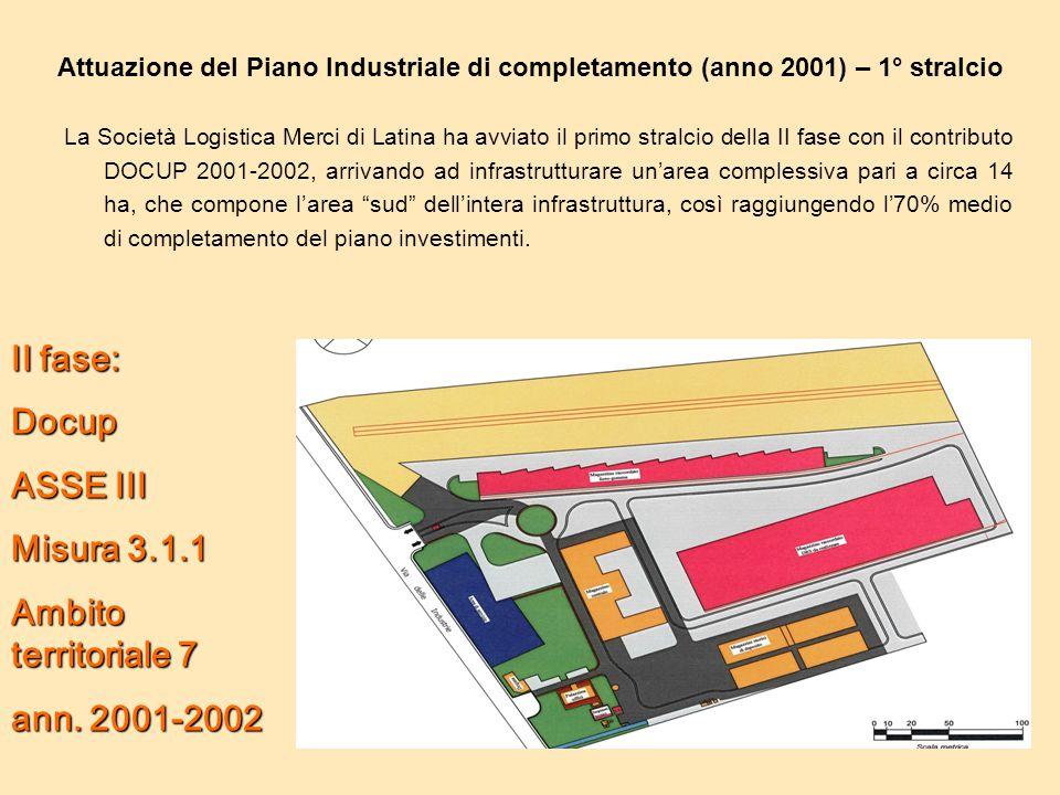 Attuazione del Piano Industriale di completamento (anno 2001) – 1° stralcio La Società Logistica Merci di Latina ha avviato il primo stralcio della II