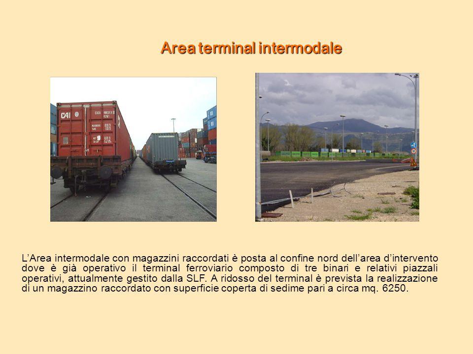 Areaterminalintermodale Area terminal intermodale L'Area intermodale con magazzini raccordati è posta al confine nord dell'area d'intervento dove è gi