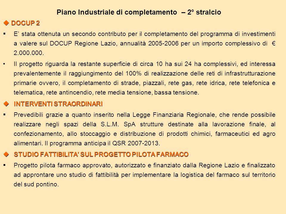 Piano Industriale di completamento – 2° stralcio  DOCUP 2  E' stata ottenuta un secondo contributo per il completamento del programma di investiment
